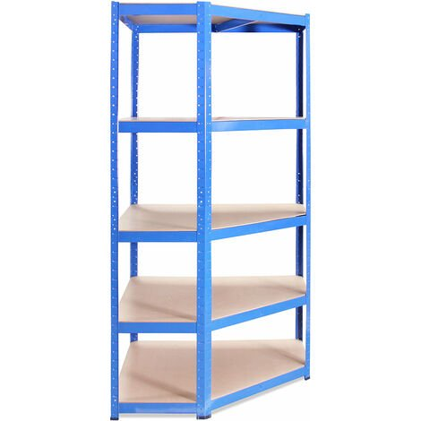 Heavy Duty 5 Tier Blue Metal Shelving Racking Boltless 175kg, 180x90x45cm