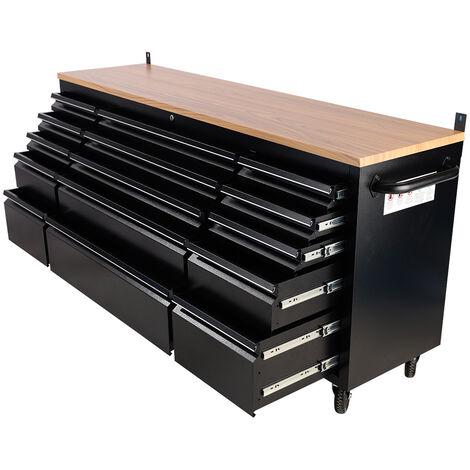 "Heavy Duty 72"" Work Bench Tool Box Chest Drawers Cabinet Garage Storage Unit"