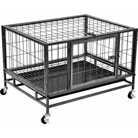 Heavy Duty Dog Cage with Wheels Steel 82x66x56 cm