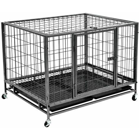 Heavy Duty Dog Cage with Wheels Steel 98x77x72 cm - Black