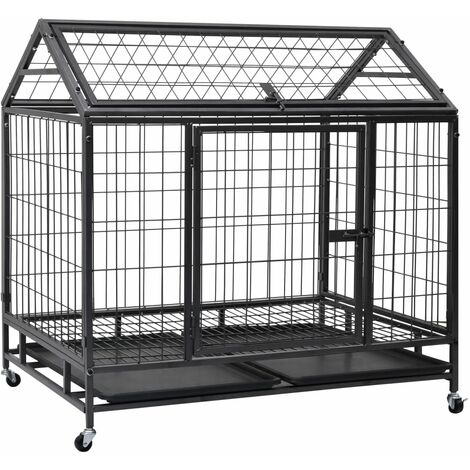 Heavy Duty Dog Cage with Wheels Steel 98x98x72 cm