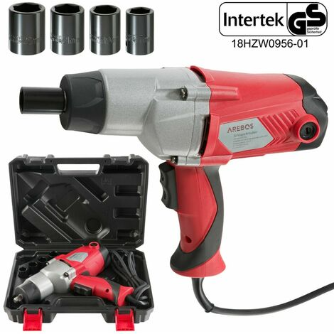 "Heavy Duty Electric Impact Wrench 1/2"" Drive and 4 Sockets 450NM TORQUE 1010W"