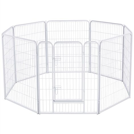 Heavy Duty Foldable Metal Pet Play Pen 8 Panel Dog Pen Fence for Large Dog Puppy Animal Rabbit Run Cage White