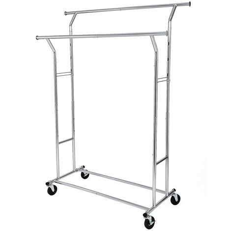 Heavy Duty Garment Rack Adjustable Metal Clothes Rail with Double Garment Hanging Rail, 110 kg Load, Chrome HSR12S