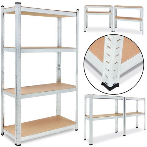 Heavy Duty Shelving Unit Deuba 4 Tier Garage Metal Racking Galvanized Storage Shelves Steel Mdf