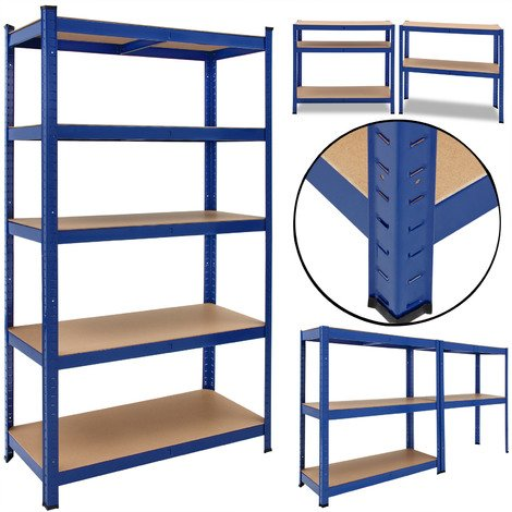 Heavy Duty Shelving Unit Deuba 5 Tier Garage Metal Racking Galvanized Storage Shelves Steel Mdf Boltless 875kg Capacity Converts To Workbench