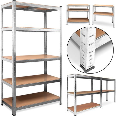 Heavy Duty Industrial Shelving Unit Deuba 5 Tier Garage Metal Racking Galvanized Storage Shelves Steel MDF Boltless 875Kg Capacity CONVERTS TO WORKBENCH Silver 180x90x40cm