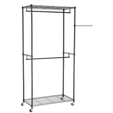 Heavy Duty Metal Clothes Rail with 2 Movable Hanging Rods 2 Adjustable Storage Shelves for Box and Shoes Organization, Commercial Clothes Storage Garment 90 x 45 x 200cm Black LGR60P