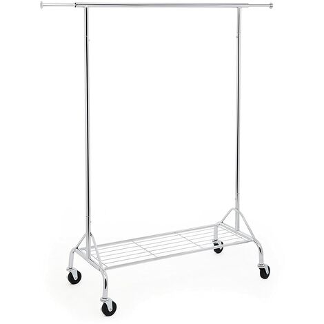 Heavy Duty Metal Clothes Rail with Shoes Shelf, maximum load of 50 Kg, Chrome HSR02S