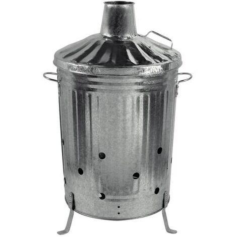 Heavy Duty Metal Galvanised Garden Incinerator and Lid Fire Bin 90 Litre UK Made