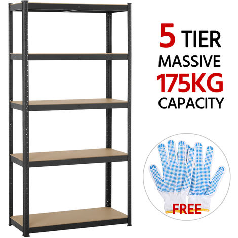 Heavy Duty Metal Garage Shelving Unit Shed Storage Shelves Boltless Shelf Rack Black