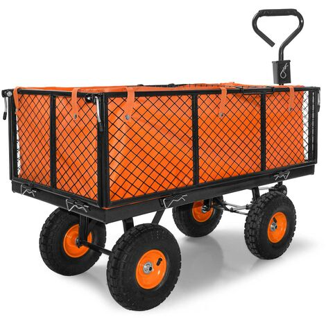 Heavy Duty Metal Garden Wheelbarrow 550kg Cart Trailer trolley with 4 wheels and steering handle and tool tray