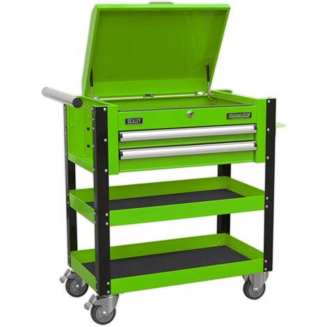 Heavy-Duty Mobile Tool & Parts Trolley 2 Drawers & Lockable Top - Hi-Vis Green