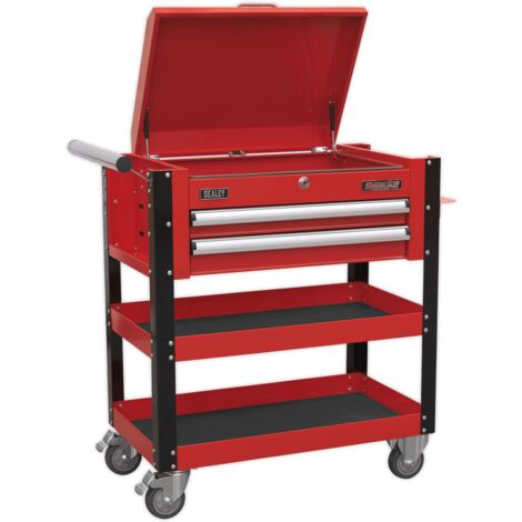 Heavy-Duty Mobile Tool & Parts Trolley 2 Drawers & Lockable Top - Red