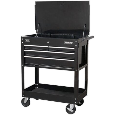 Heavy-Duty Mobile Tool & Parts Trolley with 4 Drawers & Lockable Top - Black