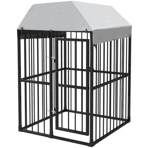 Heavy-Duty Outdoor Dog Kennel with Roof 120x120 cm