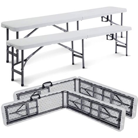 Heavy Duty Plastic Bench, Folding Portable Bench , 183 x 43 x 30 cm (72.1 x 16.9 x 11.8 inch), White, Foldable in half, Pack of 2, Seating capacity: 2 to 4 persons per bench
