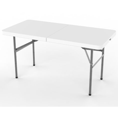 Heavy Duty Plastic Table, Folding Portable Table , 124 x 61 cm (48.8 x 24 inch), White, Foldable in half, Material: HDPE