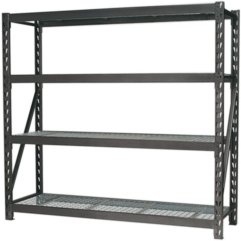 Heavy-Duty Racking Unit with 4 Mesh Shelves 640kg Capacity Per Level 1956mm
