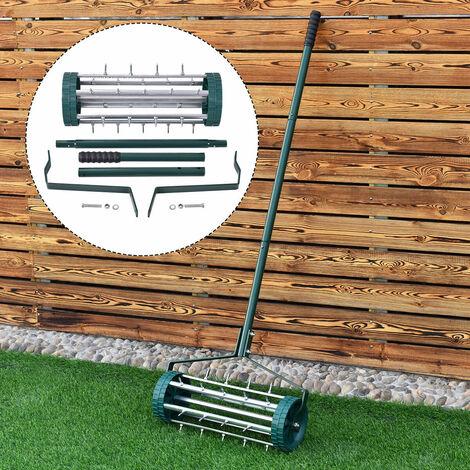 "main image of ""Heavy Duty Rolling Grass Lawn Garden Aerator Steel Spike Roller Aluminum Handle"""
