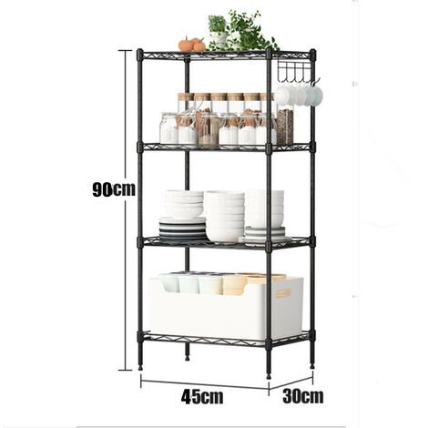 Heavy Duty Storage 4 Level 45X30x90cm Black Adjustable Shelve Garage Steel Metal Shelf