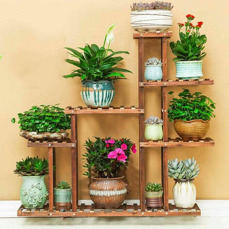 Heavy Duty Wood Plant Stand Flower Display Shelf Outdoor Rack w/ Supporting Rod