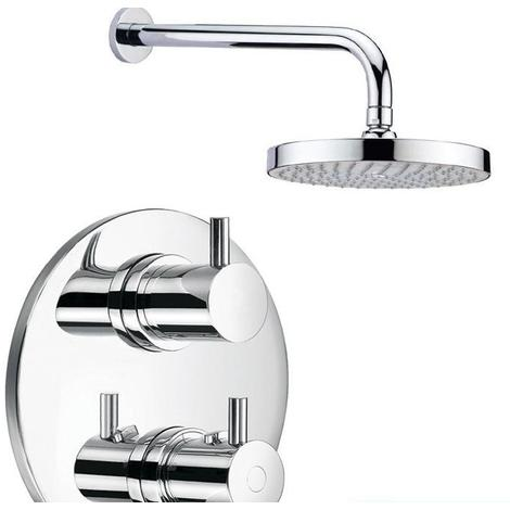 Heavy Quality Round Thermostatic Shower Valve Mixer Tap, Wall Arm & Head (SH055)