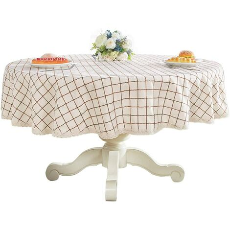 """Heavy Weight Cotton Linens Lace Tablecloth Plaid Round Table Round Table for Kitchen Dining Room Tabletop Decoration, 48 """"- Round, Champagne"""