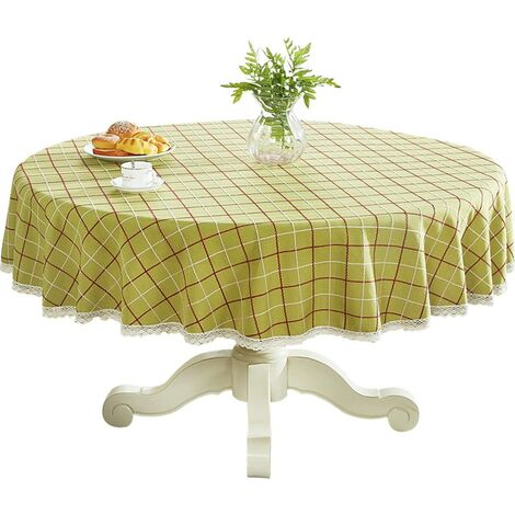 """Heavy Weight Cotton Linens Lace Tablecloth Plaid Round Table Round Table for Kitchen Dining Room Tabletop Decoration, 48 """"- Round, Green"""