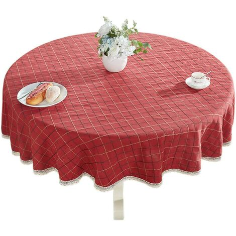 """Heavy Weight Cotton Linens Lace Tablecloth Plaid Round Table Round Table for Kitchen Dining Table Decoration, 48 """"- Round, Red"""