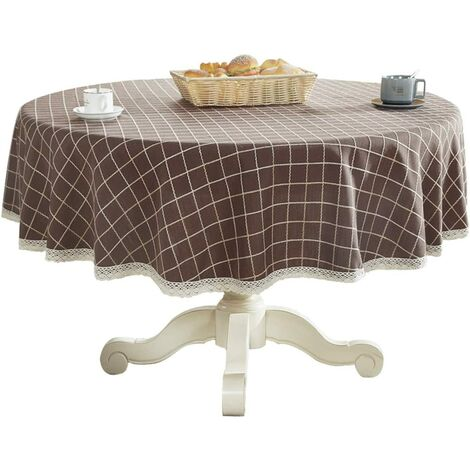 """Heavyweight Cotton Linen Lace Round Lace Round Table Top for Kitchen Dining Tabletop Decoration, 36 """"- Tower, Coffee"""