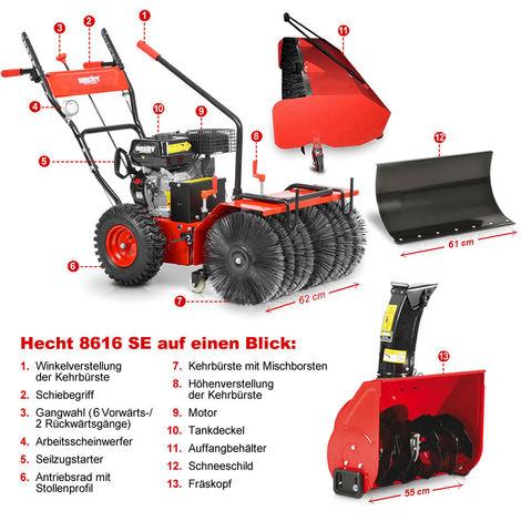 Hecht 8616 SE Kombi Gerät Kehrmaschine und Schneefräse mit Elektro Starter Set 1