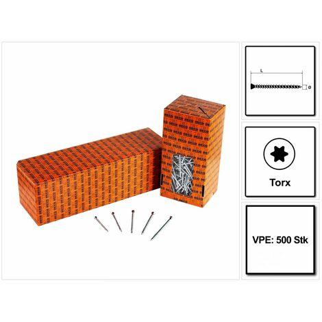 HECO UNIX-top Tornillos para tarima 4,5 x 80 mm / 500 unidades / Torx T-20 / Cabeza avellanada rosca completa galvanizada A2K ( 46516 )