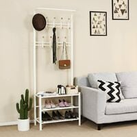 Height 187cm Metal Hall Tree Entryway Organizer Multi-purpose Clothes Coat Stand Shoes Rack Hat Umbrella Bag Stand Black/Cream