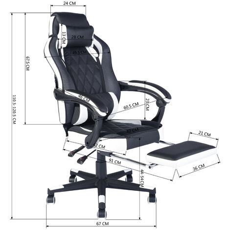Height adjustable black white reclining office gaming chair with casters, lumbar cushion and headrest