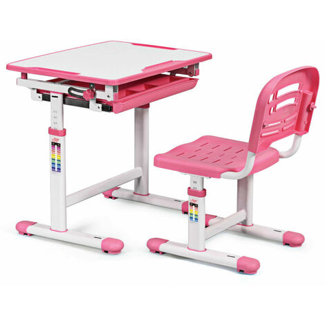 Height Adjustable Children Kids Study Desk Table Chair Set Ergonomic