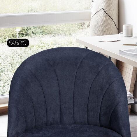 Height-adjustable dark blue office chair