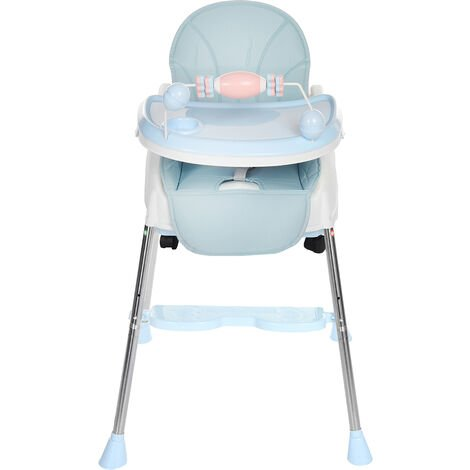 Height Adjustable Foldable High Chair Recline Feeding Seat Table Chair Blue