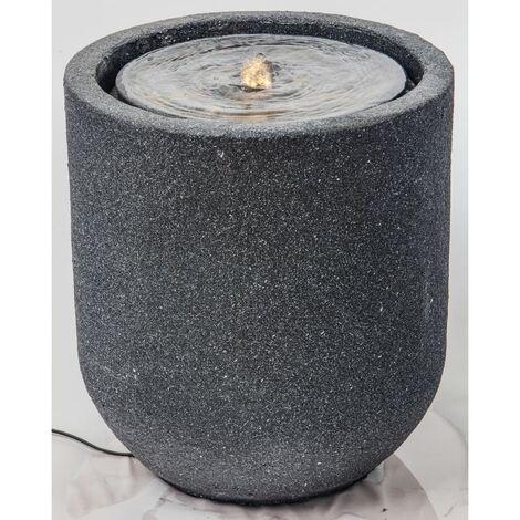 HEISSNER Fontaine de terrasse avec cylindre à LED 41x41x45 cm Noir