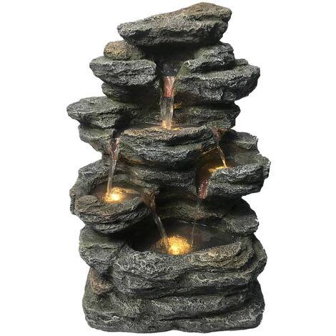 HEISSNER Fontaine de terrasse avec pierre à LED 42x29x60 cm Gris