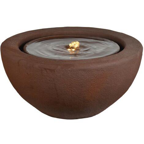 HEISSNER Fontaine de terrasse demi-sphère avec LED 50x50x25 cm Rouillé