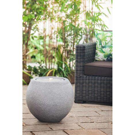 Heissner Gartenbrunnen Ball LED in Schwarz oder Grau