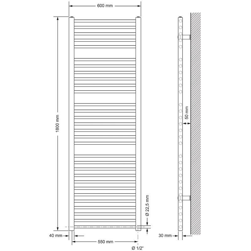 Heizk/örper Heizung Handtuchw/ärmer Handtuchtrockner Handtuchheizk/örper ECD Germany Badheizk/örper Mittelanschluss 300 x 1400 mm Anthrazit gerade mit Thermostat Anschlussgarnitur Durchgang Boden Chrom