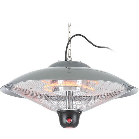 """main image of """"Heizsporn radiateur et plafonnier 60,5 cm lampe LED télécommande argent"""""""