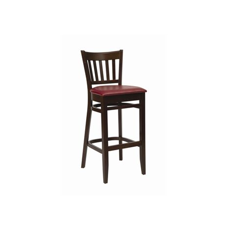 Helen Walnut Frame Bar Stool Red Padded Seat Fully Assembled