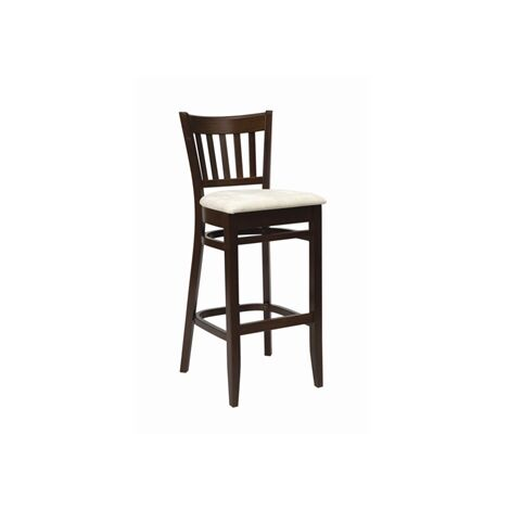 Helen Walnut Frame Kitchen Bar Stool Cream Seat Pad Fully Assembled