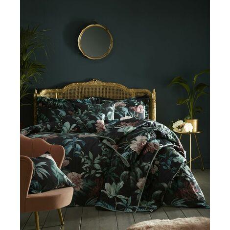 Heligan Double Duvet Cover Set Bedding Bed Quilt Set Floral Black