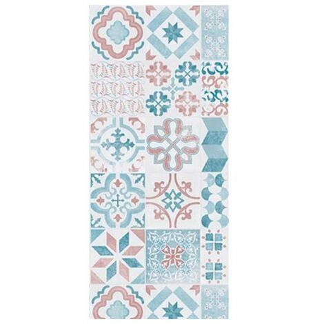 HELIO Tapis 100% vinyle - 50 x 112,5 cm - Epaisseur 2,4 mm - Bleu, blanc et rouge