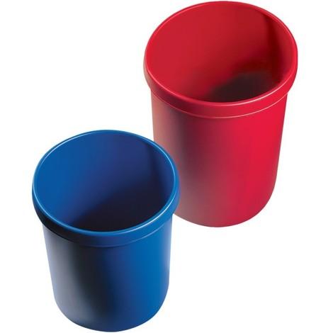 helit Corbeille à papier en plastique - capacité 30 l, hauteur 405 mm, lot 5 pces - bleu, lot de 5 - Coloris: Bleu