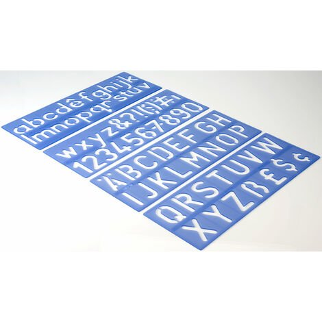 Helix H57010 Stencil Set Letters Numbers & Symbols 50mm Upper & Lower Case x 4